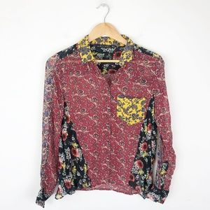 Zara Sheer Patchwork Floral Blouse